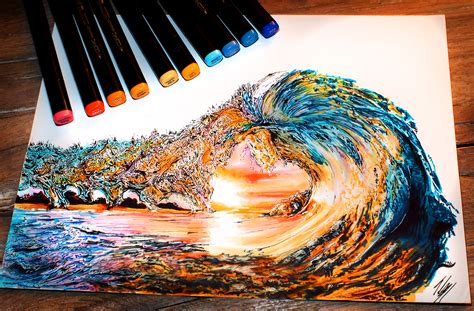 - sunset wave - COPIC Markers and Prismacolors on Bristol